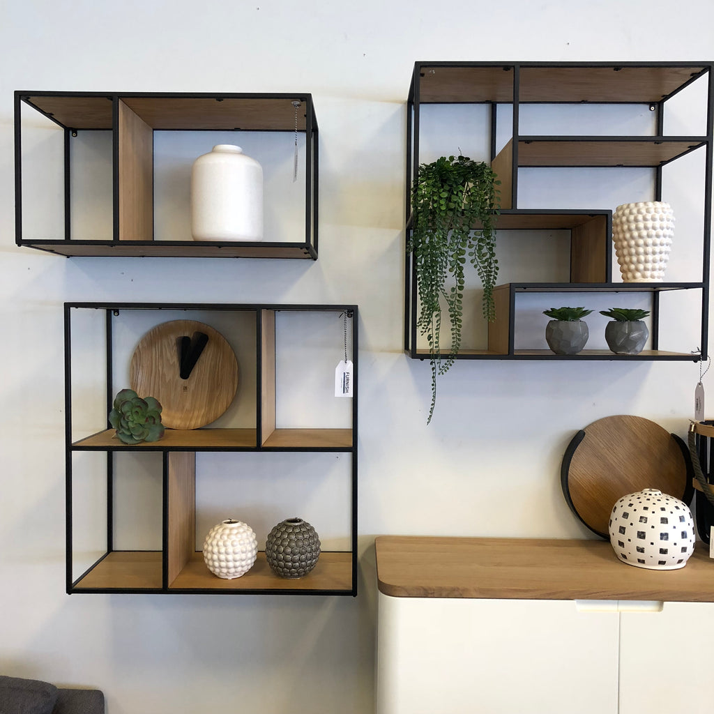 Dice Bookcase B - Shelves In Veneered Oak - Metal Painted Black - Assembled