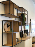 Dice Bookcase C - Shelves In Veneered Oak - Metal Painted Black - Assembled