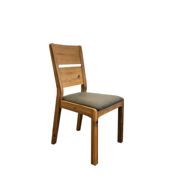Imola Dining Chair - Solid Wild Oak Timber - Dark Grey Fabric