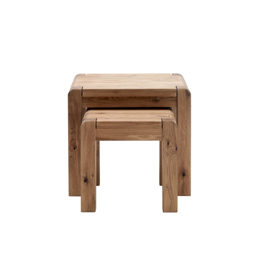 Imola Nest Of Tables - Solid Oak Oiled