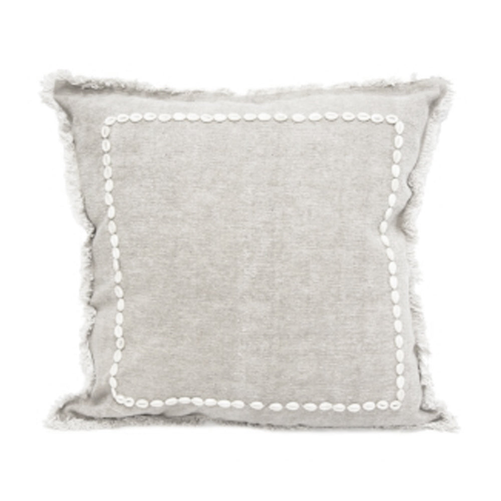 Ira Cushion With Shell Boarder - Grey