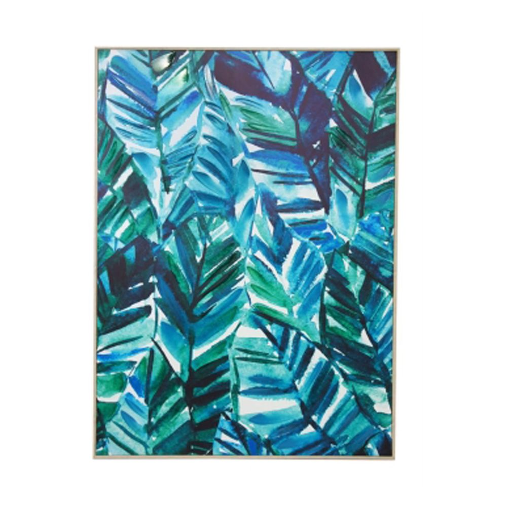 Jade Leaves Canvas Print - Natural Frame