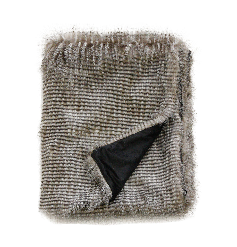 Limon Faux Fur Throw - Grey Civet