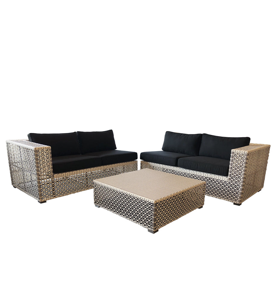 Muriwai 2.5str LHF + Corner Side Table + 2.5str RHF - Black & White Rehau German Wicker