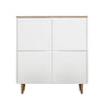 New Amalfi 4 Door Cupboard - 110x120x40cm - Matt White/ Oak Oak Veneer Top