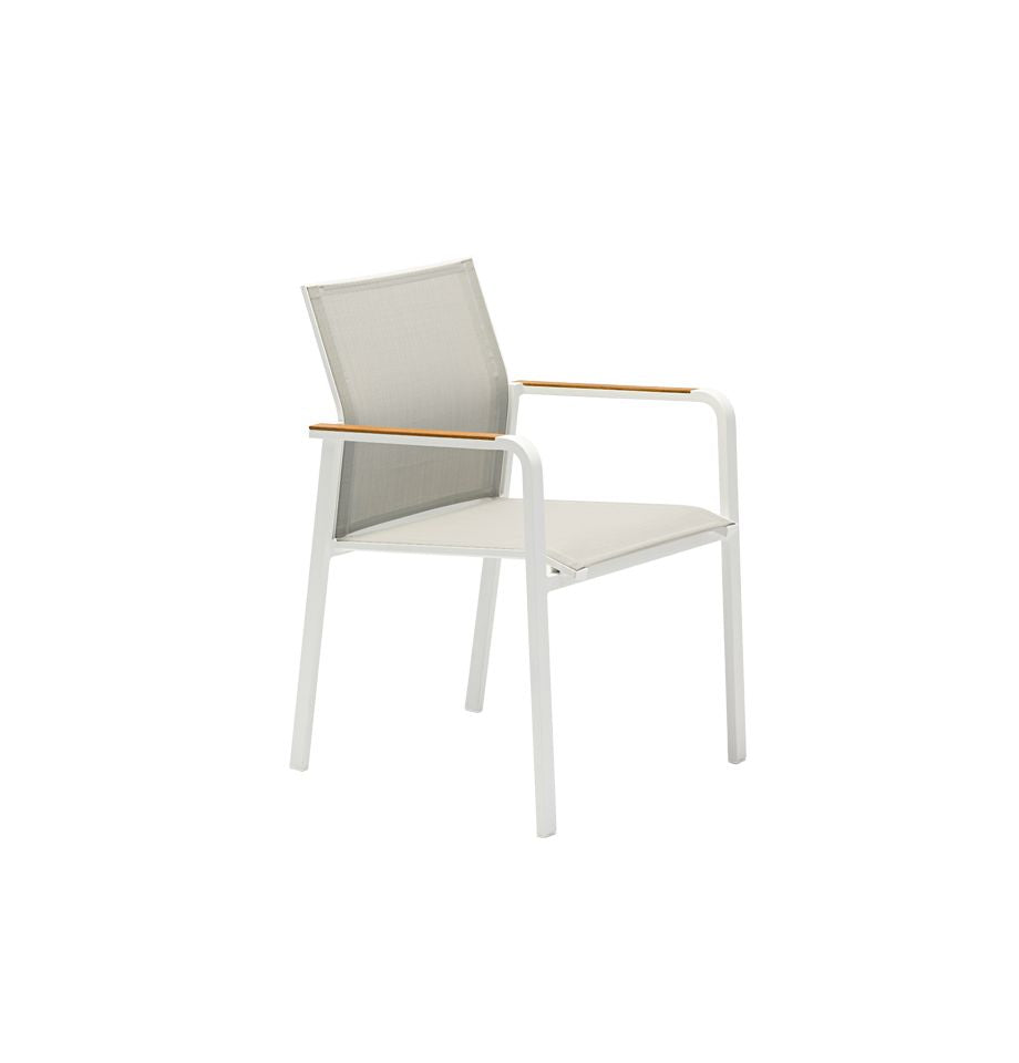 Omaha Outdoor Dining Chair - White Aluminium/Light Grey Fabric