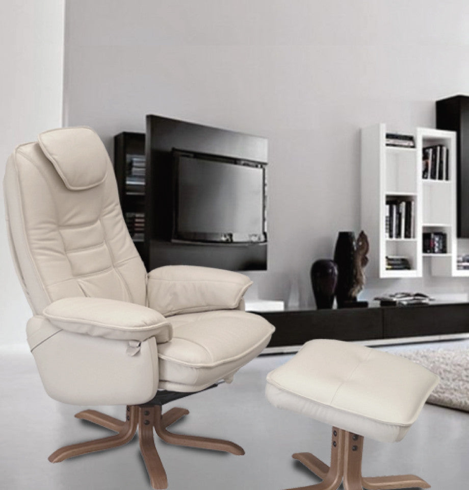 Incroyable ... Oslo Recliner Chair U0026 Footstool   Black Leather   Wenge Timber