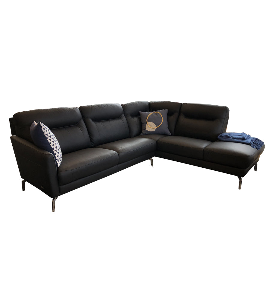 Pacific 3 Seater 1 arm LHF + Corner Extension Chaise Rt - Cat 13 Atollo Black Urban Sofa Leather
