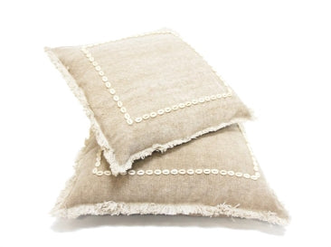 Ira Cushion With Shell Boarder - Beige