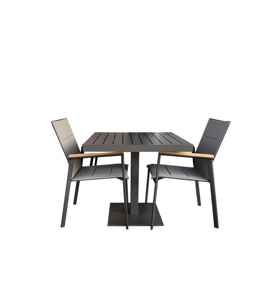 Ristretto Cafe Table 77.5x77.5 - Charcoal Powder Coated Aluminium