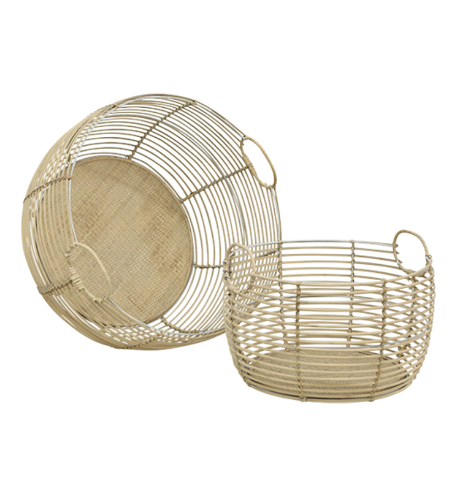 Round Bamboo Wire Basket - White - Large