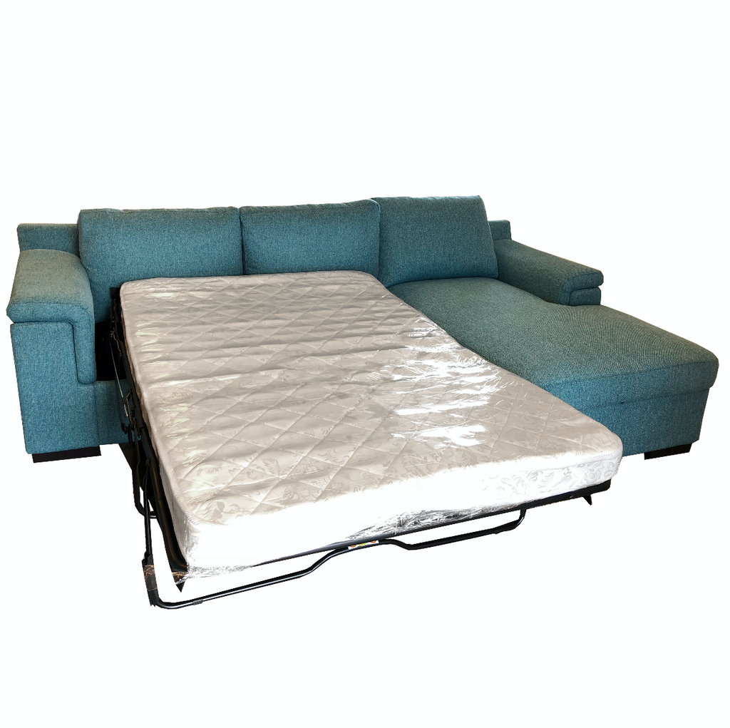 Valencia 2.5 Sofabed Left + Storage Chaise R - Teal