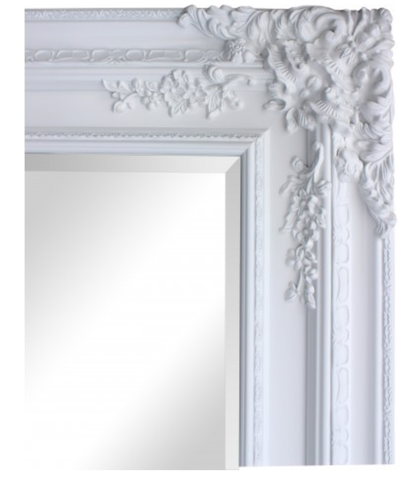 High Gloss White French Mirror - 1290x985