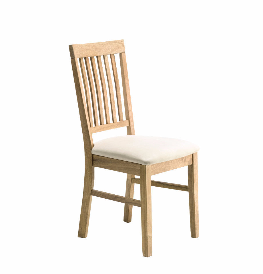 Modena Oak Dining Chair - Beige Fabric