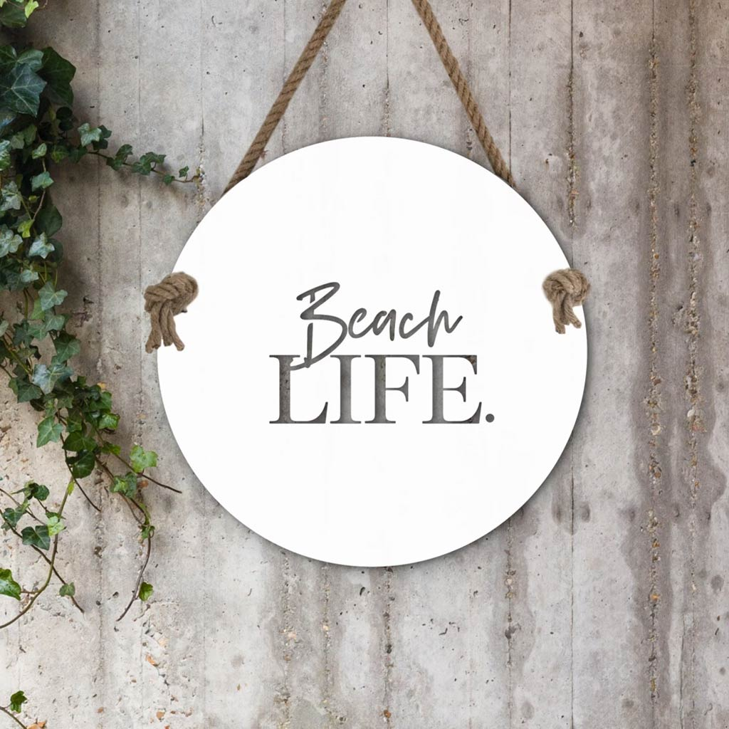 Indoor/Outdoor Wall Hanging - Beach Life - White