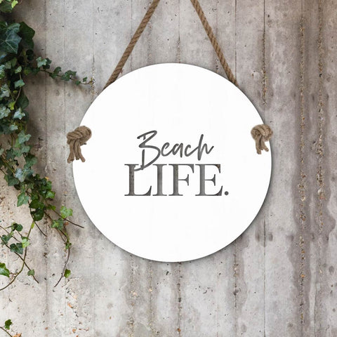 Indoor/Outdoor Wall Hanging - Shells w. Rope - White