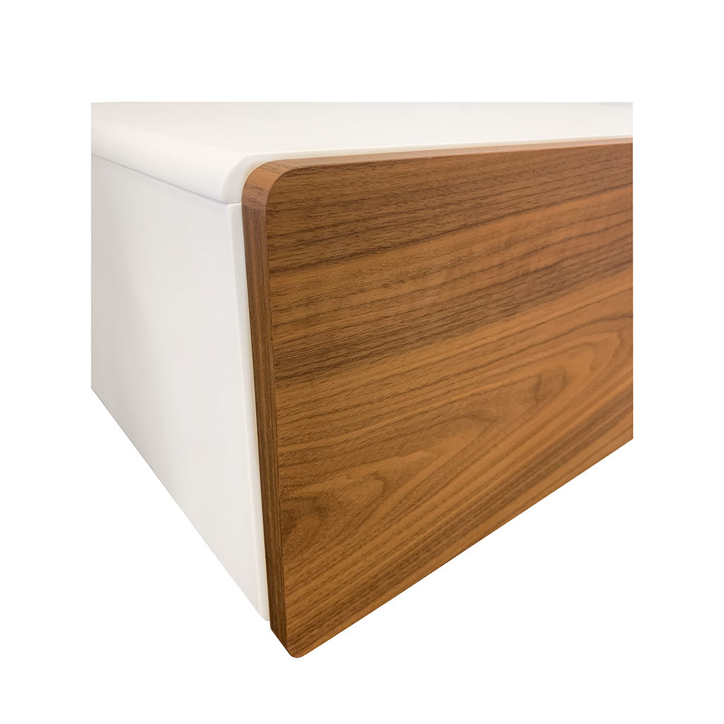 Bondi high gloss white and walnut entertainment unit close up