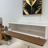 Bondi floating entertainment unit in walnut and high gloss white with door open