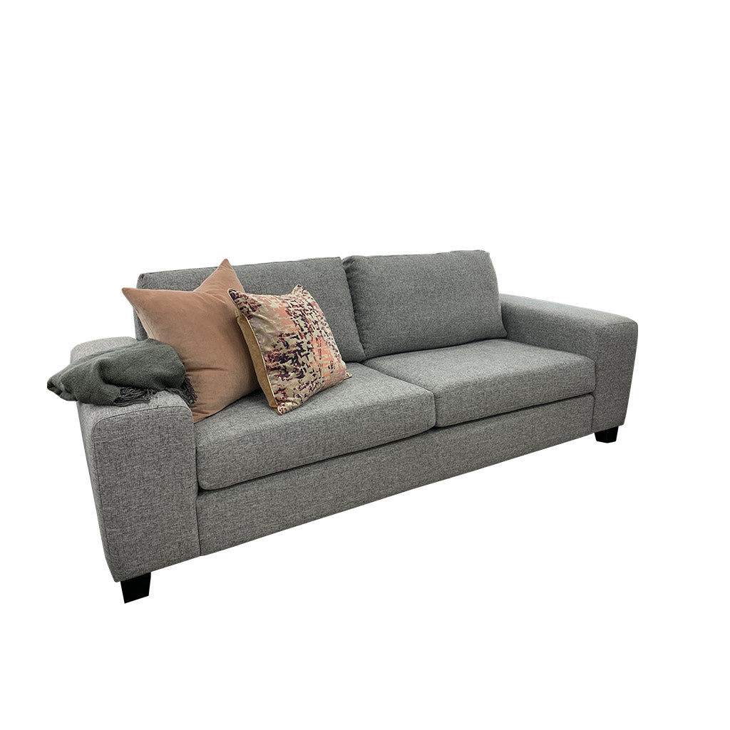 NZ made wide arm sofa in Massimo Silver fabric