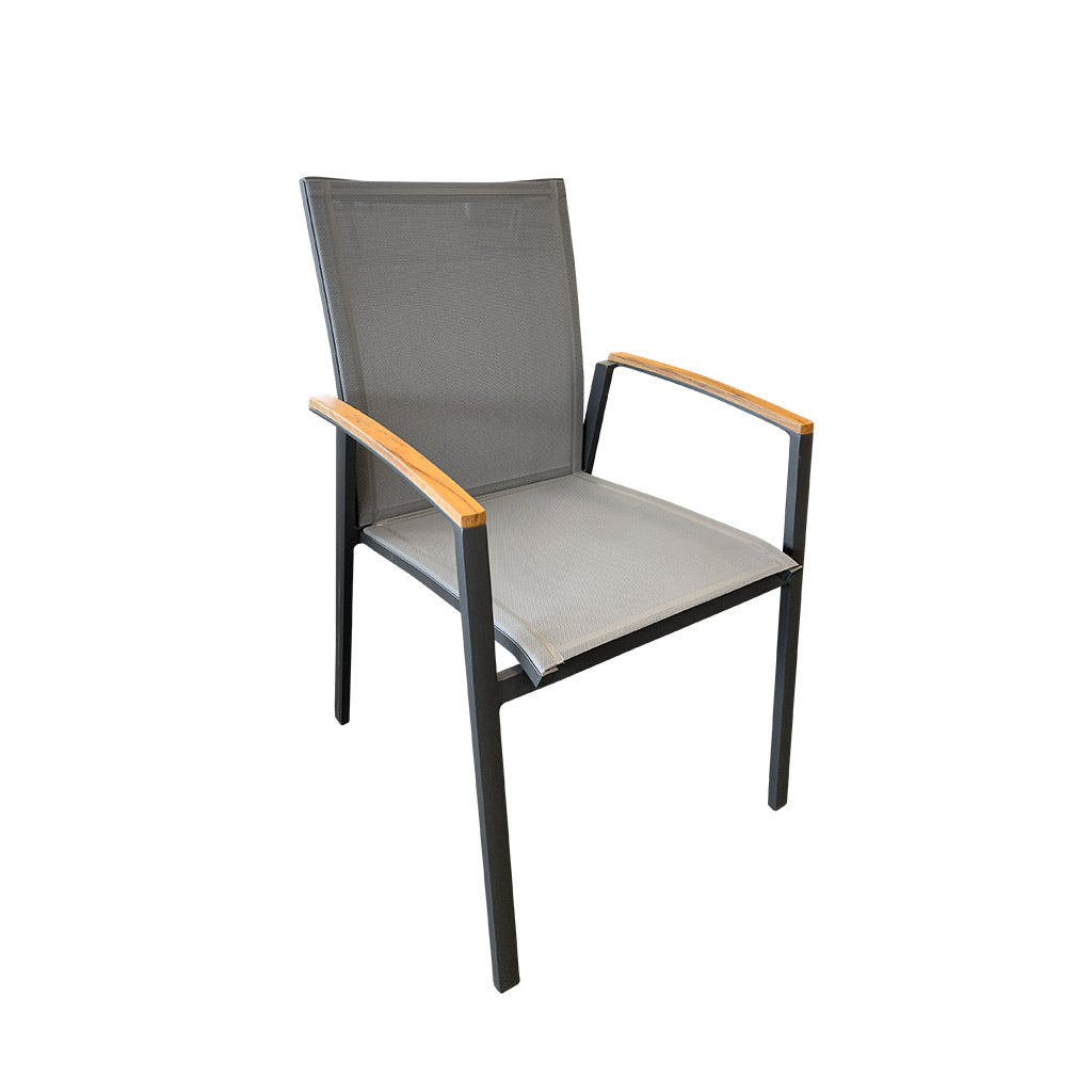 Cairo Outdoor Dining Chair - Charcoal Powder Coated Aluminium/Teak