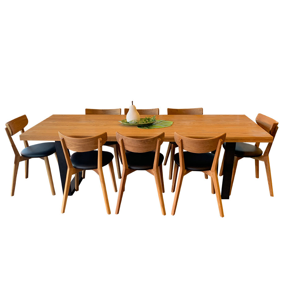 Calia Dining Table and 8 Pisa Dining Chairs