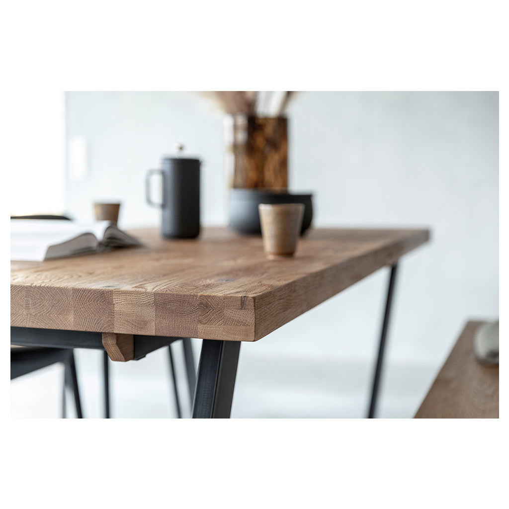 Calia Solid Oak Dining Table - Close up