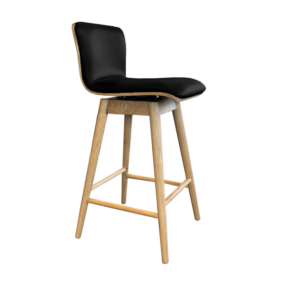 Capa Counter Stool With Swivel - Black Leather Seat