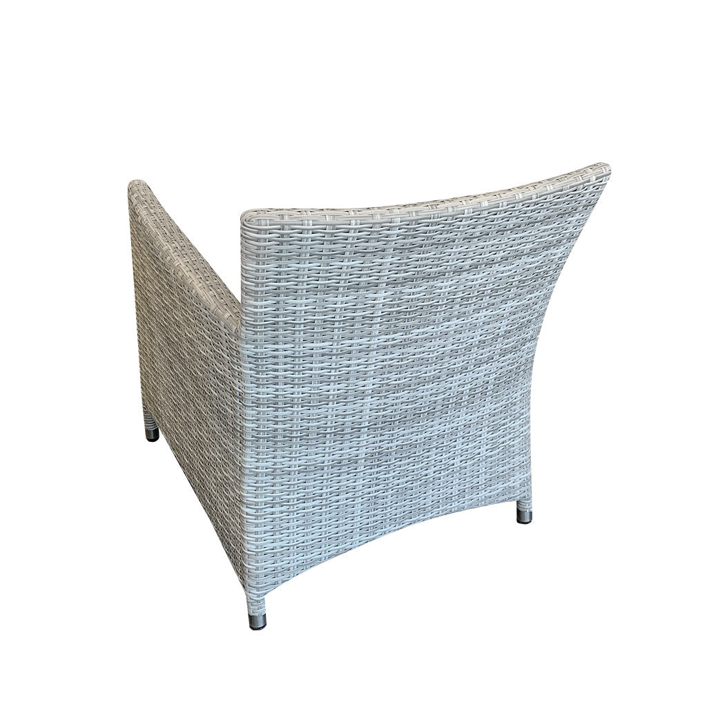 Cayman Outdoor Lounge Chair - Rehau German Wicker Horizon Grey - Back view