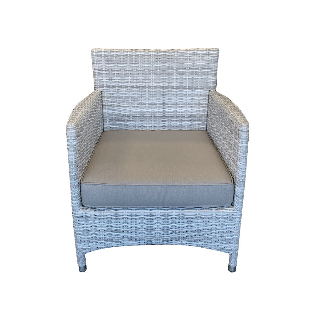 Cayman Outdoor Lounge Chair - Rehau German Wicker Horizon Grey - Front