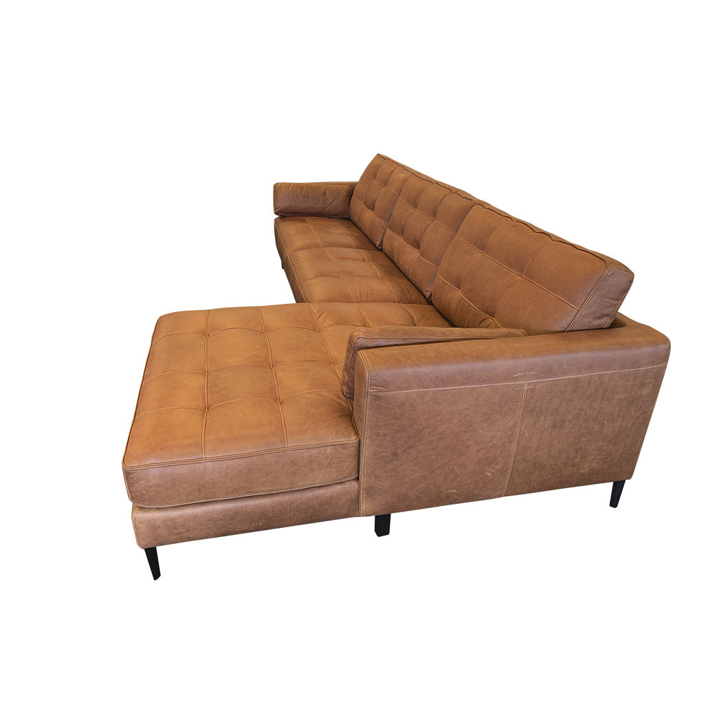 Chester Sofa Chaise - quality brown leather lounge suite