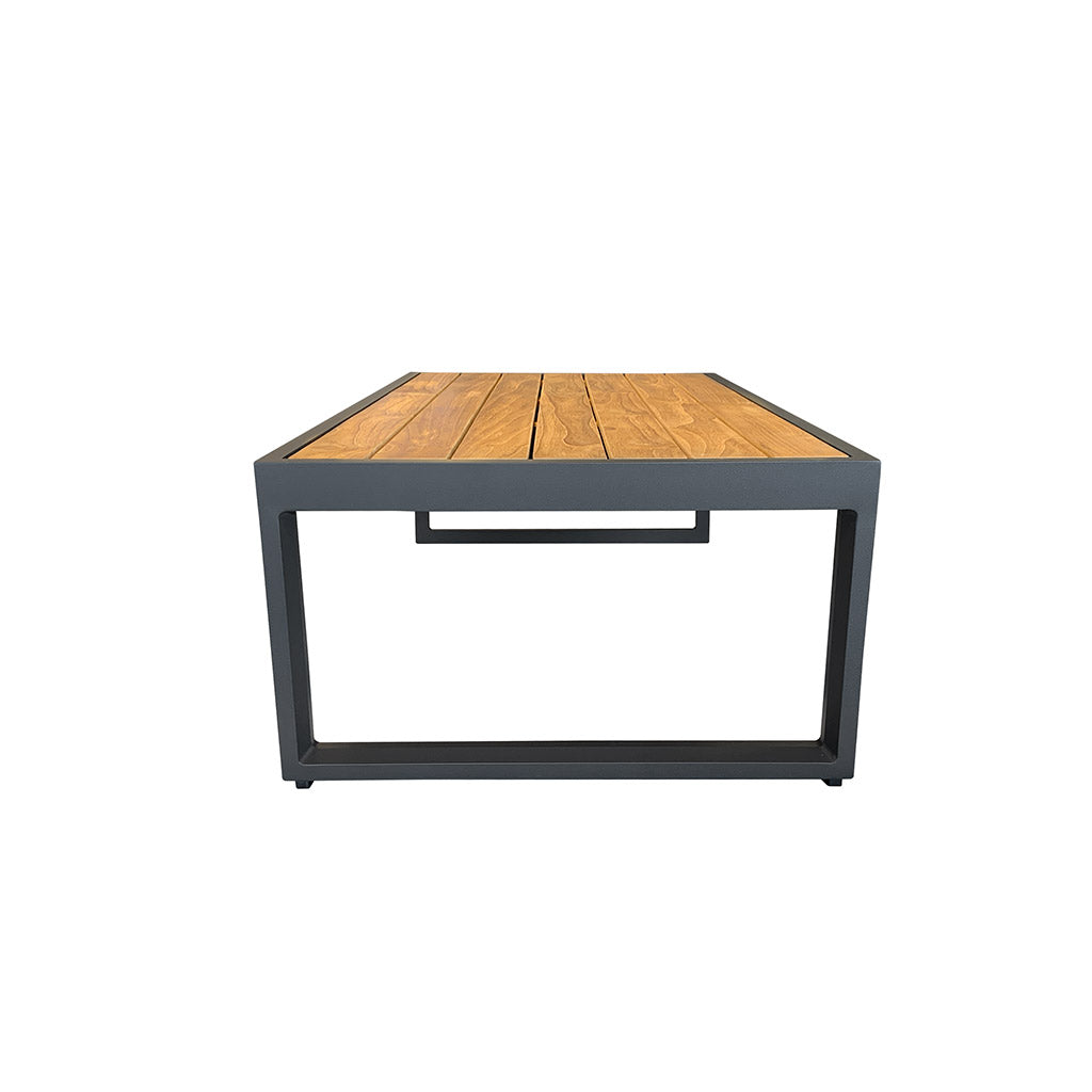 Outdoor coffee table - teak timber and charcoal aluminium