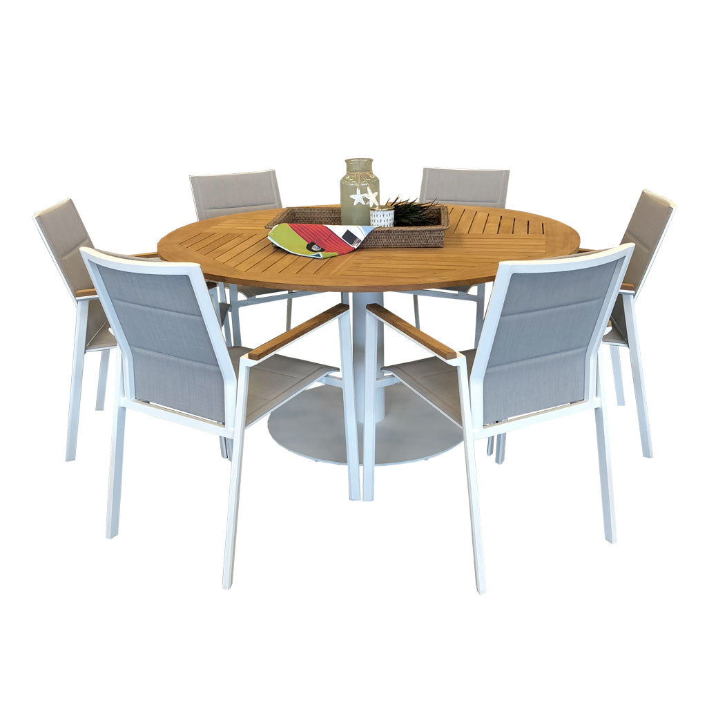 Copenhagen outdoor 7 piece setting with round table