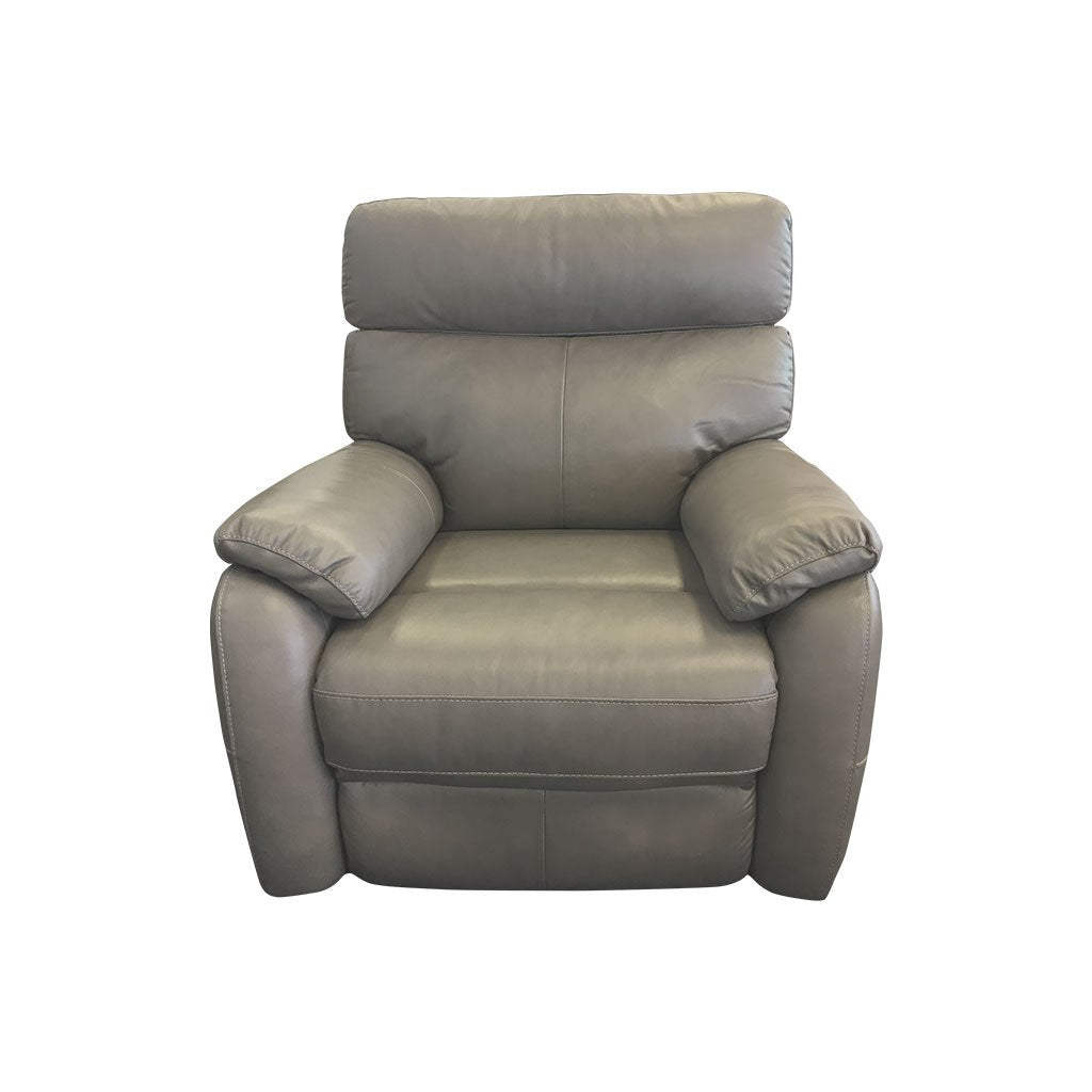Cortez light grey leather 1 seater front