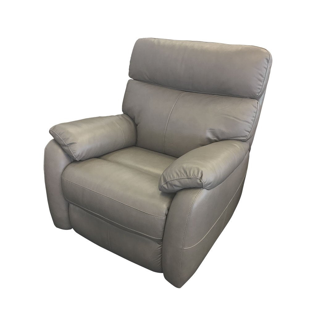 Cortez light grey leather 1 seater side