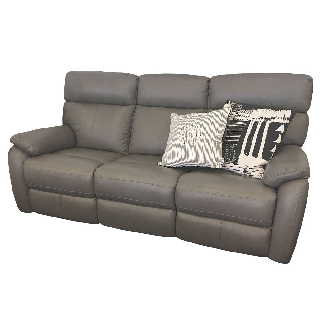 Cortez light grey leather 3 seater sofa