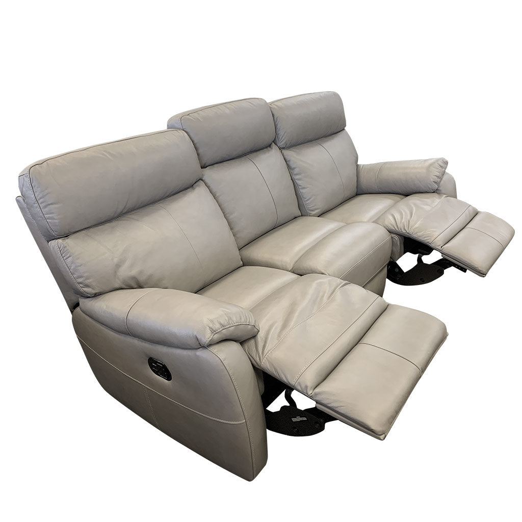 Cortez Light Grey Leather 3 seater with 2 recliners