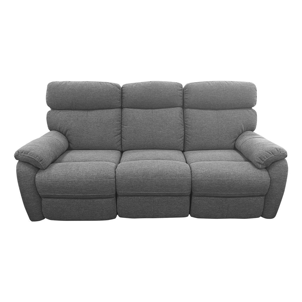 Cortez charcoal fabric 3 seater recliner