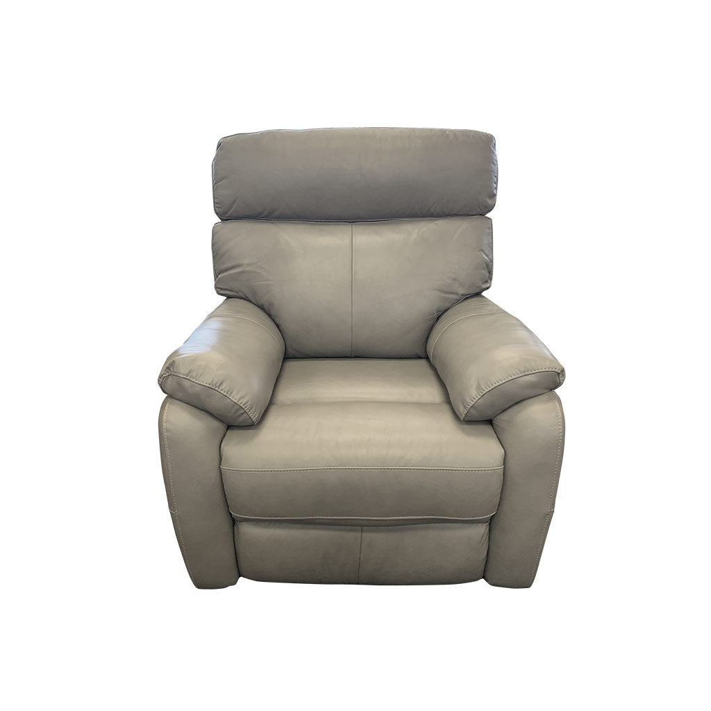 Cortez Light Grey Leather 1 seater chair
