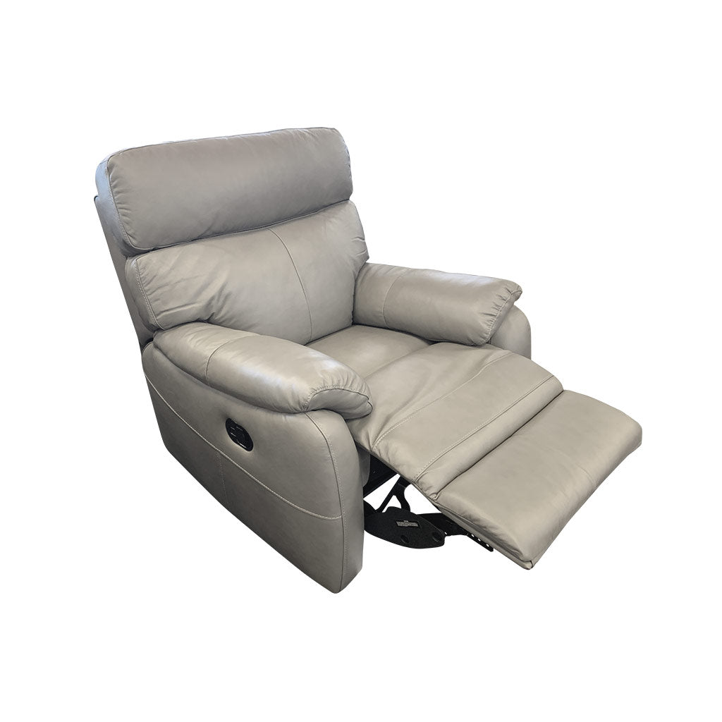 Cortez Light Grey Leather 1 seater reclined