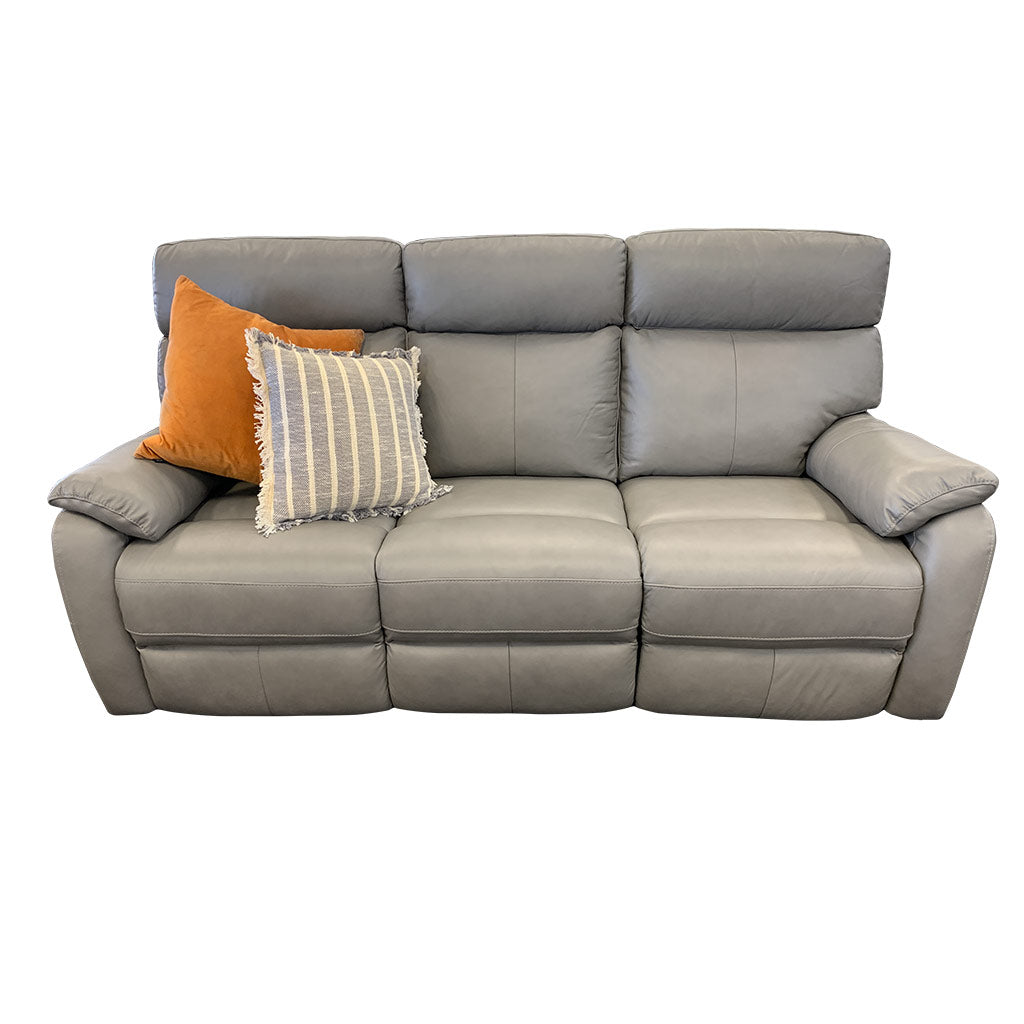 Cortez Light Grey Leather 3 seater with cushions