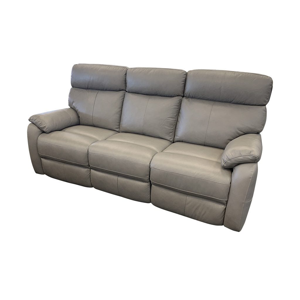 Cortez Light Grey Leather 3 seater side view