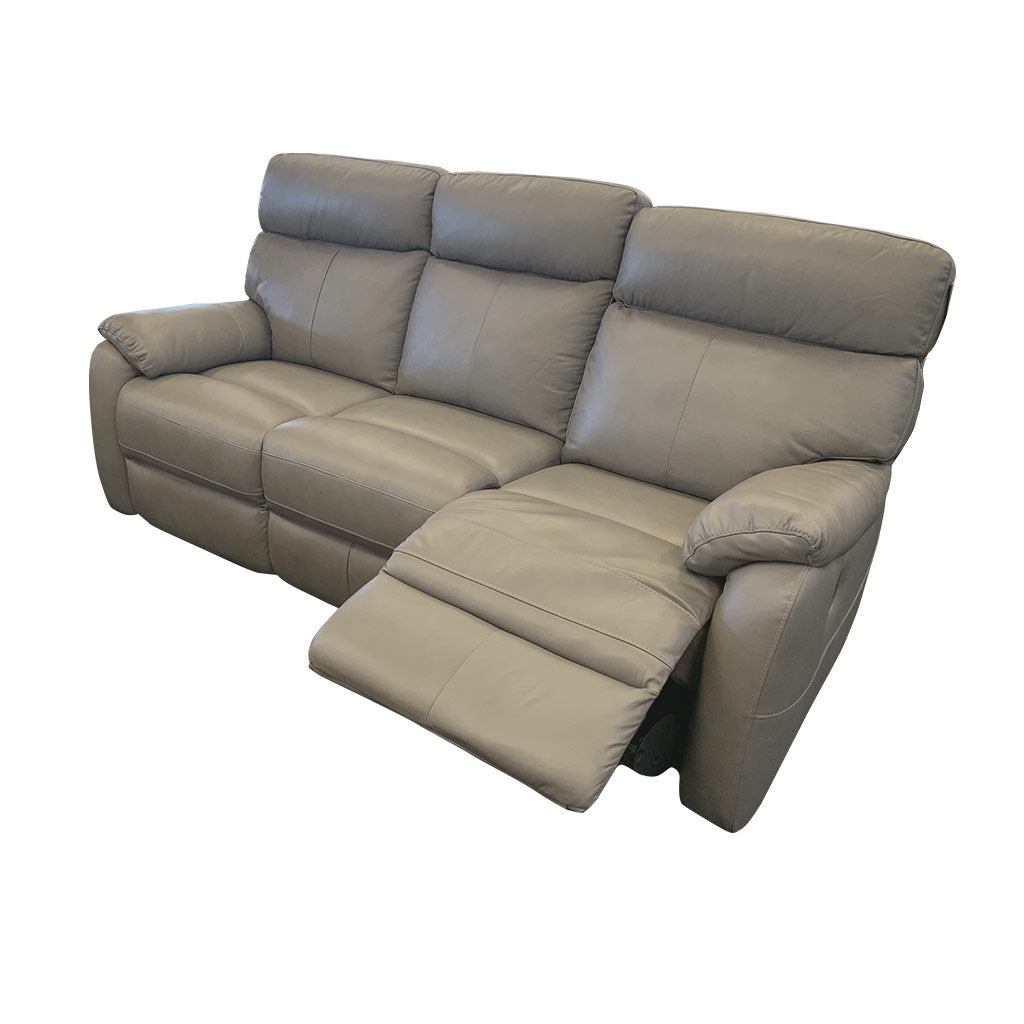 Cortez Light Grey Leather 3 seater with one side reclined