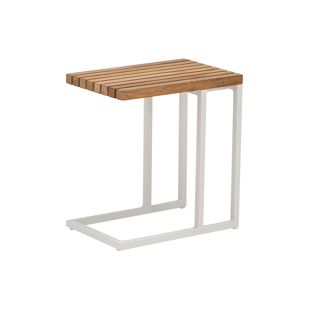 Cube outdoor side table - white