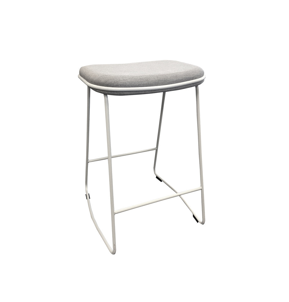 White Cubic Bar Stool - Furnish