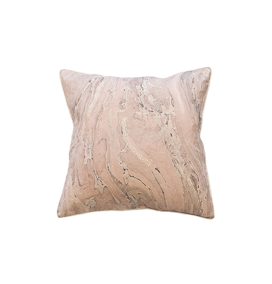 Lauren Cushion - Dusty Rose and Silver | Cotton Soft Furnishing