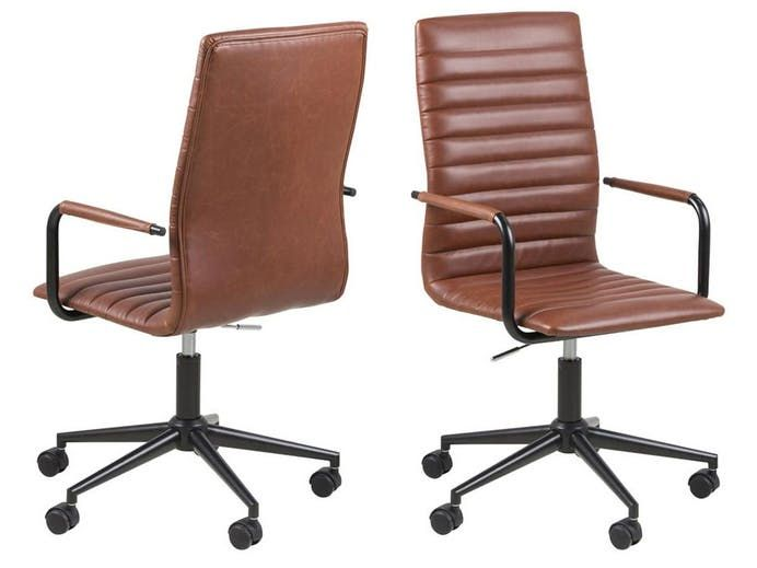 Winslow Office Chair with Arms - Vintage Dark Brandy PU