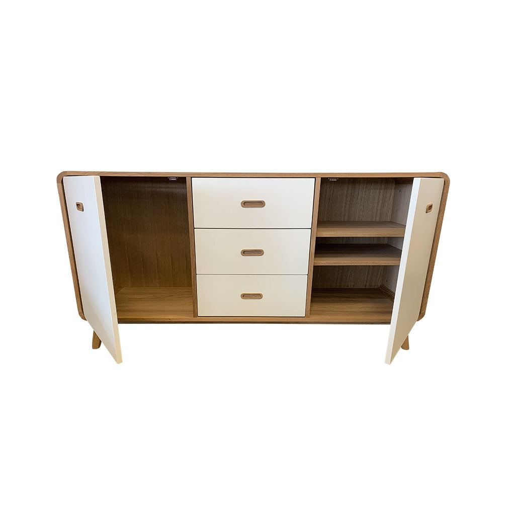 Enza 3 section sideboard - cupboard and drawers