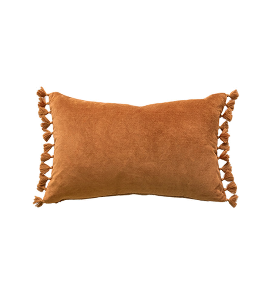 Este Cushion with feather inner in Nutmeg | Cotton & Velvet Soft Furnishing