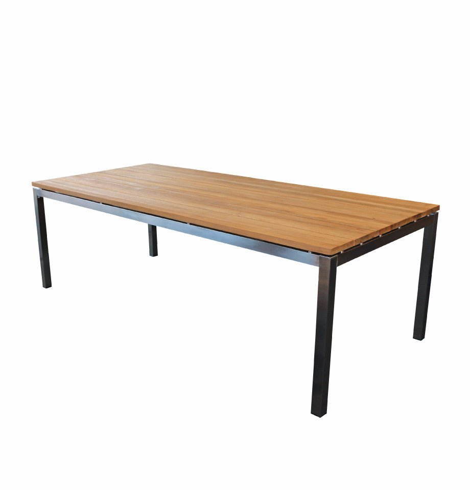 Marseille Outdoor Table - 2250x1000x770h - Teak Timber & 316 Stainless