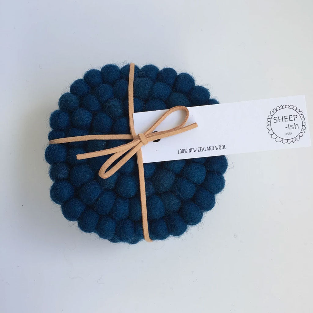 Felt Ball Coasters - Peacock - 4 Pack